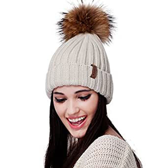 db4eceb1709 Womens Knitted Winter Pom Beanie Hat Faux Fur Pom Pom bobble Hat ...