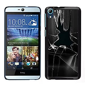 Cubierta protectora del caso de Shell Plástico || HTC Desire D826 || Ventana de cristal roto Prank Negro Blanco @XPTECH