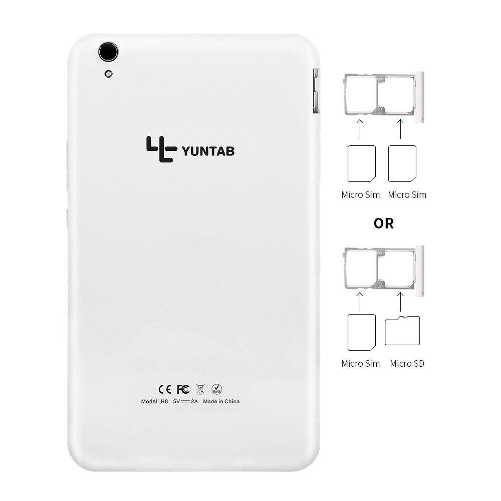 Yuntab H8 8 Inch A53 64bit CPU,1.3Ghz Quad Core Android 6.0,Unlocked Smartphone Phablet Tablet PC,2G+16G,HD 800x1280,Dual Camera 2M+5M,IPS,WiFi,P-Sensor,G-Sensor,GPS,Support 2G/3G/4G(White) by Yuntab (Image #6)