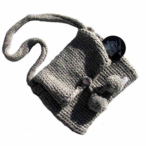 Miss Blumarine Kinder Tasche Stricktasche mit Bommeln Grau