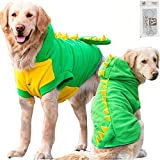 Bolbove Large Dog Fleece Outfit Dinosaur Costume with Hood for Big Dogs Cold Weather Coats Large Dogs Party Apparel (6XL)