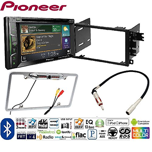 Pioneer AVH-1400NEX Double DIN Apple CarPlay In-Dash w/Touchscreen Single/Double DIN Install Kit for 2004-06 GM/Chevy Vehicles Car License Plate Rearview Camera - Black CAM810 Silver