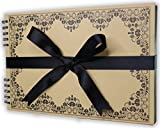Memento Scrapbooks for DIY Photo Album - 80 Black Pages (40 sheets) - Hard Cover with Black Ribbon - Perfect for Birthday or Wedding Guestbook, Anniversary, Baby Shower and Memory Book