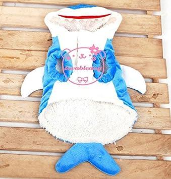smalllee/_lucky/_store Shark Small Dog Costume Winter Coat Fleece Sweater Hoodie Jumper Pet Cat Clothes Blue M