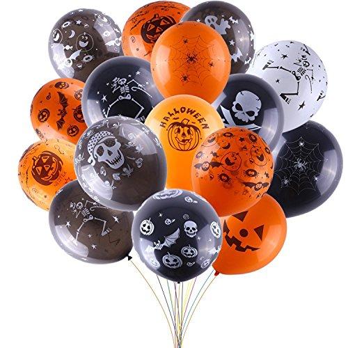 Quality Halloween Decorations (Balloons For Halloween Decoration,100Pcs 12 Inch Premium Quality Latex Balloons Skeleton Bat Specter Pumpkin Spider Web Latex Balloons for Halloween Party)