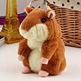 Powshop Cute Mimicry Pet Talking Hamster Repeats What You Say Plush Animal Toy Electronic Hamster Mouse for Kids Gift