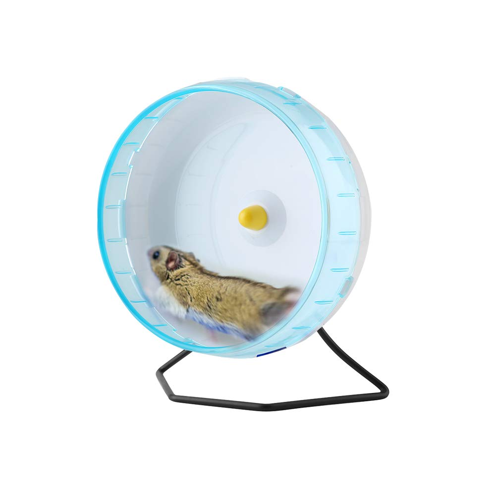 Plastic Silent Running Wheel Hamster Mouse Rat Exercise Toys Pet Toy Training Cage Accessory for Small Animals Mouse with Iron Stand