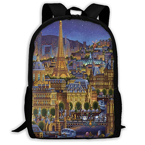 Backpack Paris City Of Lights Zipper School Bookbag Daypack Travel Rucksack Gym Bag For Man Women