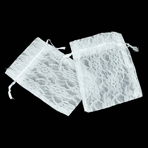 vLoveLife 50pcs White Lace Gift Bags Candy Pouches With Drawstring TWO LAYERS Floral Lace + Organza Favor Pouches Wrap for Wedding Party Gift Favor Bags Pouches - 4'' x 6'' ()