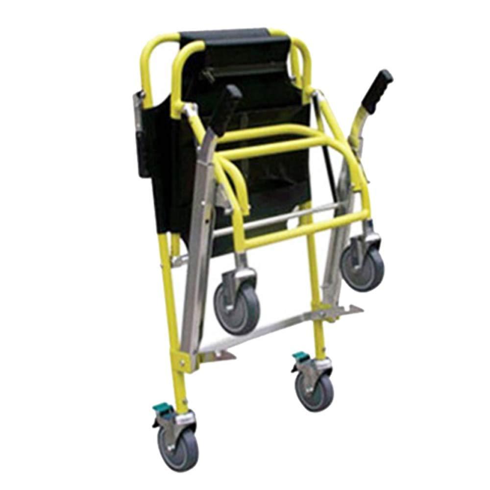 Silla de escalera aluminio peso ligero ambulancia médico elevación, transporte de paciente paramédico 4 ruedas silla de evacuación, capacidad de carga: 400 ...
