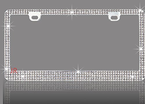 Super Bling 6 Rows Grey/Light Black(C-Type Screw Cap) Real Crystal Rhinestone Embedded-Metal Chrome License Plate Frame Embedded Crystal