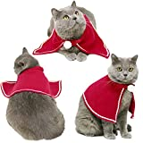 Cat Costume, Legendog Christmas Pet Costumes Red Velvet Pet Cape Pet Apparel for Small Dogs and Cats (Red, S)