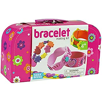 Design Your Own 3D Bracelets Kit for Girls. Fun, Creative Fashion with 10 Bands, 40 Flower Beads, Stickers, Velcro Fasteners, Silver Glitter Pen in Sturdy Suitcase