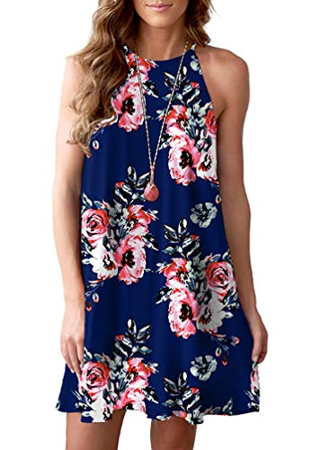 Blue Floral Sleeveless Dress - Feiersi Women's Summer Halter Neck Floral Print Sleeveless Casual Mini Dress(Floral Navy Blue,XL)