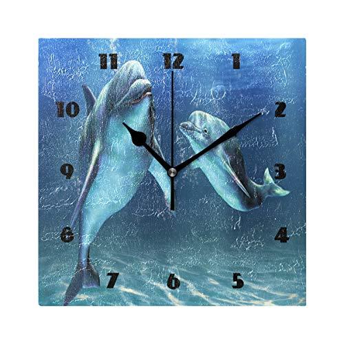 (DJROW Dolphins Square Wall Clock Farmhouse Decor Non Ticking Wall Clocks Decorative 8x8)