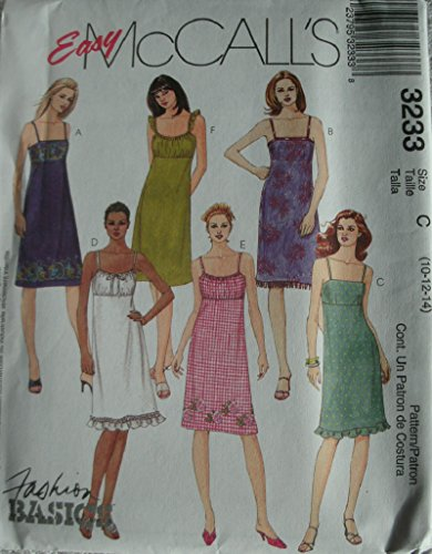 MISSES STRAP SUMMER DRESSES WITH VARIATIONS SIZE 10-12-14 EASY MCCALLS FASHION BASICS PATTERN 3233 ()
