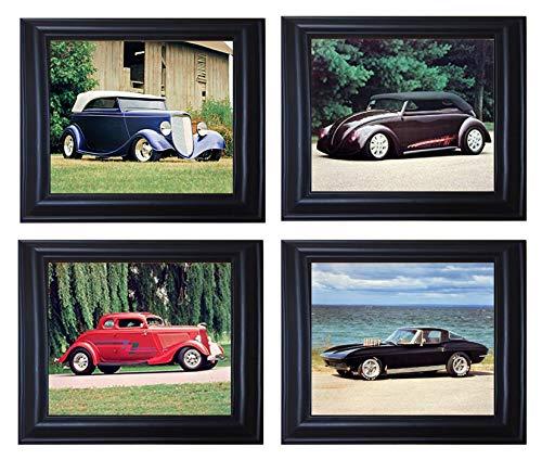 Vintage Car Corvette Coupe, Ford Phaeton, VW Bug Black Framed Picture Wall Decor 8x10 Four Set Art Print Posters -