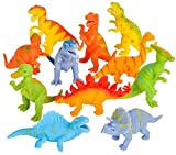 Novelty Treasures Soft Flexible Squeezy COLORFUL Dinosaurs (Set of 12) Birthday Party Goody Bag Dino Toys