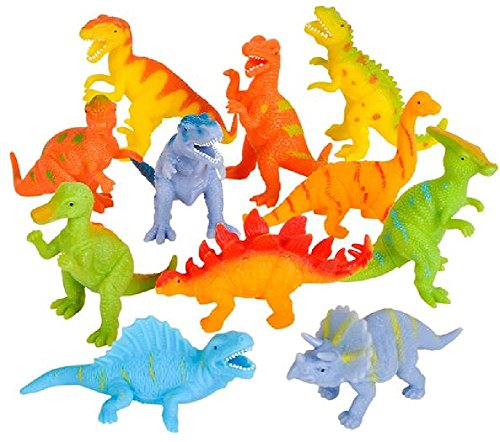 - Novelty Treasures Soft Flexible Colorful Dinosaurs 12 Pack Birthday Party Goody Bag Dino Toys