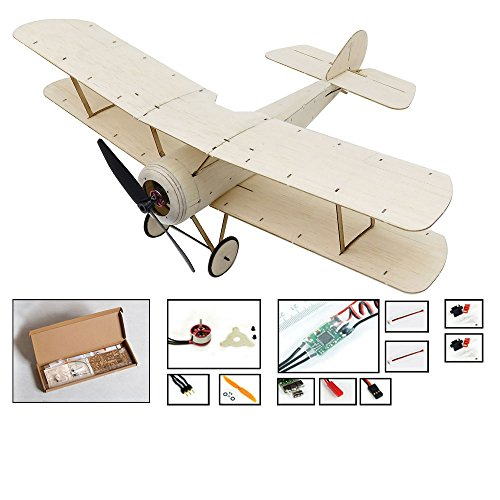 Dancing Wings Hobby Balsa Wood Micro 3CH Indoor Electric Biplane Sopwith Pup 378mm Wingspan by DW Hobby; Remote Control Balsa Laser-Cutting KIT to Build for Adults (K0604)