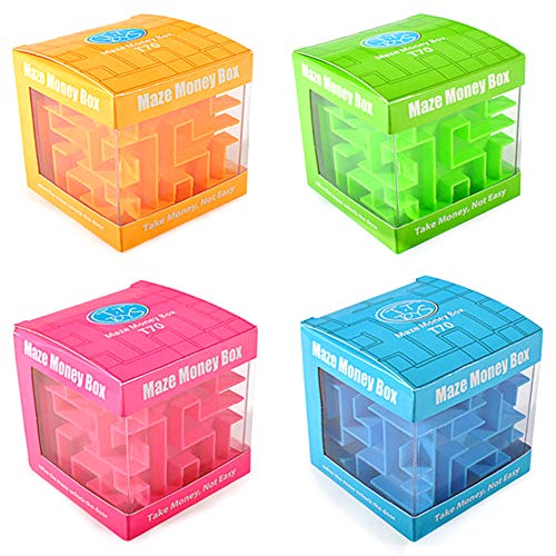4 Pcs Money Maze Puzzle Boxes - Money Holder Brain Teasers for Kids Adults Unique Valentine Birthday Gifts for Men Women