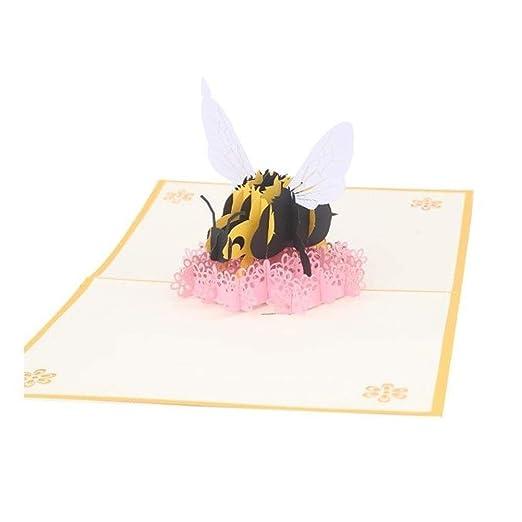 Qwer Little Bee Tarjeta de Felicitación 3D Pop-up Plegable ...