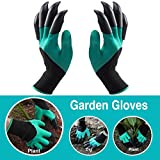 Garden Genie Gloves with Claws; Quick & Easy to Dig Without Tools, 8 ABS Plastic Claws on Left and Right Hands, - Great Gift for Mom and Dad, Nursery Planting & Safe for Rose Pruning, Thorn Protection