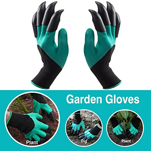 Garden Genie Gloves with Claws; Quick & Easy to Dig Without Tools, 8 ABS Plastic Claws on Left and Right Hands, - Great Gift for Mom and Dad, Nursery Planting & Safe for Rose Pruning, Thorn Protection Gifts For Mom