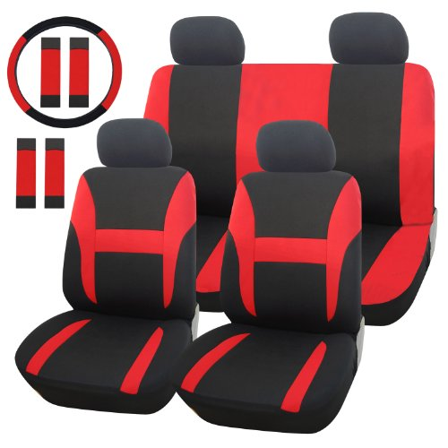 Adeco [CV0156] 13-Piece Car Vehicle Seat Covers, Universal Fit, Black with Bright Red ... (Seat Cover For Car For Women compare prices)