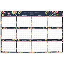 "Day Designer for Blue Sky 2019 Laminated Erasable Wall Calendar, January 2019 - December 2019, Double Sided, 36"" x 24"", Peyton Navy Design"