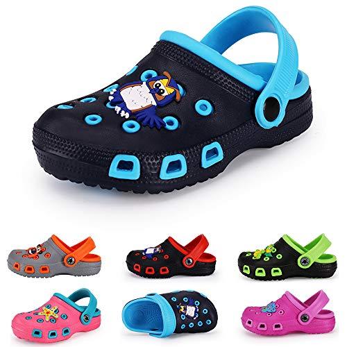 KaKaKiKi Kid's Boy Girl Cute Garden Shoes Cartoon Toddler Infant Summer Sandals Clogs with Backstrap Children Beach Slipper(Toddler/Little Kids) (7 M US Toddler, b-Blue)