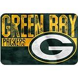 20'' X 30'' NFL Packers Mat For Boys, Football Themed Bath Rug Sports Patterned Rectangular Bathroom Carpet, Team Logo Fan Merchandise Athletic Spirit, Gold, Dark Green Polyester