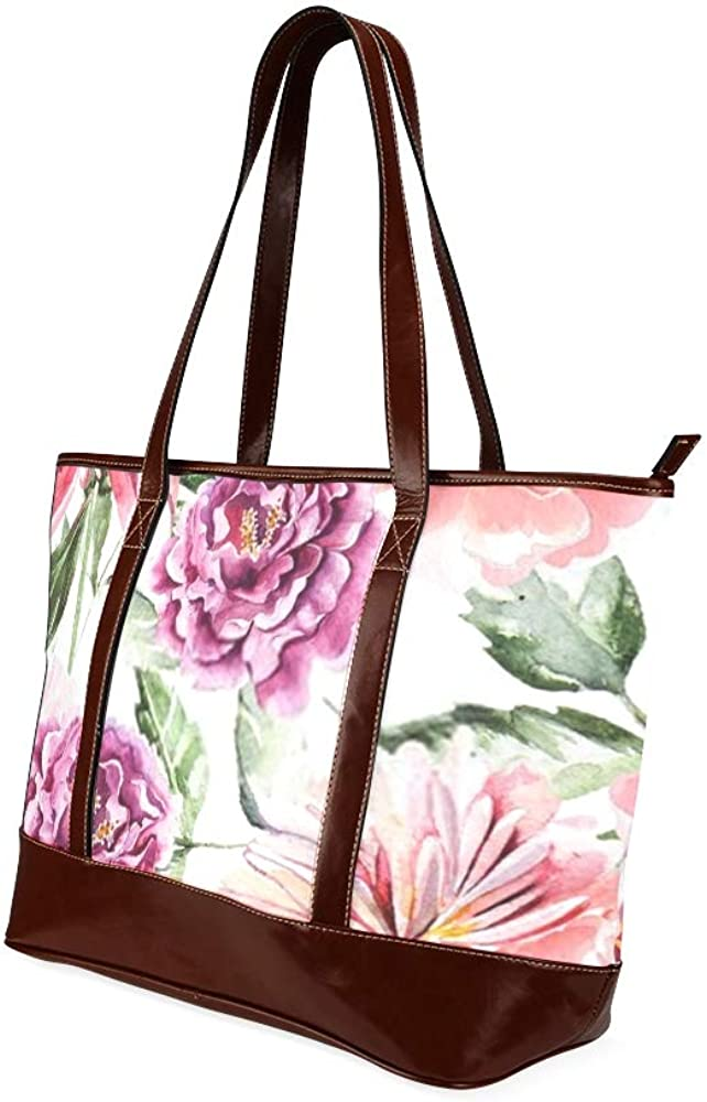 Tote Bags Seamless Pattern Watercolor Flowers Peonies Illustration Travel Totes Bag Fashion Handbags Shopping Zippered Tote For Women Waterproof Ha