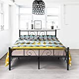 GIME Bed Frame Full Size, Yanni ADRINA Premium Platform Metal Mattress Foundation/Box Spring Replacement with Headboard and Footboard, Under-bed Storage, Enhanced Sturdy Slats, 10 Legs, Black