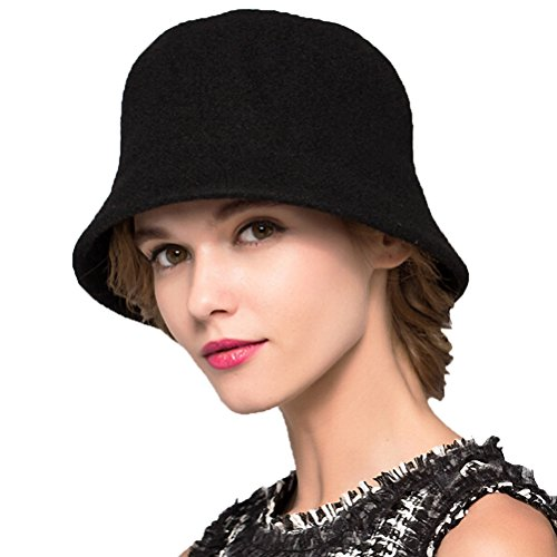 Maitose Trade; Women's Simple Wool Felt Bucket Hat Black - Felt Bucket