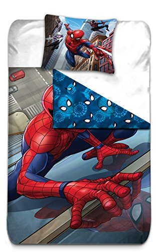 Marvel Spiderman Kids Reversible Double Faced Super Soft 100% Cotton Duvet Cover and Pillow Cover Bed Set ()