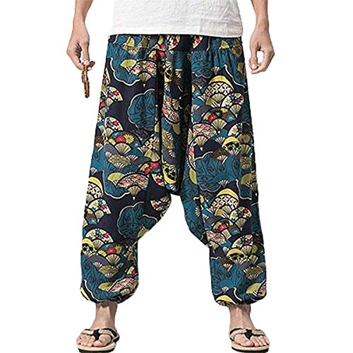 PERDONTOO Men Women Cotton Harem Yoga Baggy Genie Boho Pants (32, Style 3) (Harem Pants For Men)