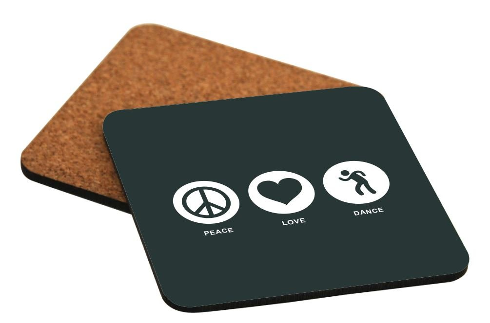 Rikki Knight Peace Love Dance Green Color Design Cork Backed Hard Square Beer Coasters, 4-Inch, Brown, 2-Pack