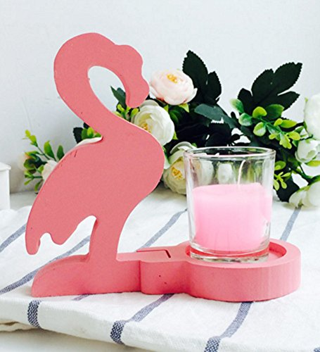 Skyseen Tropical Themed Tea Light Candle Holder with Wood Pink Flamingo