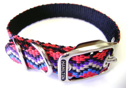 Hamilton 5/8-Inch by 14-Inch Single Thick Nylon Deluxe Dog Collar, Mutli Colored Weave, Black