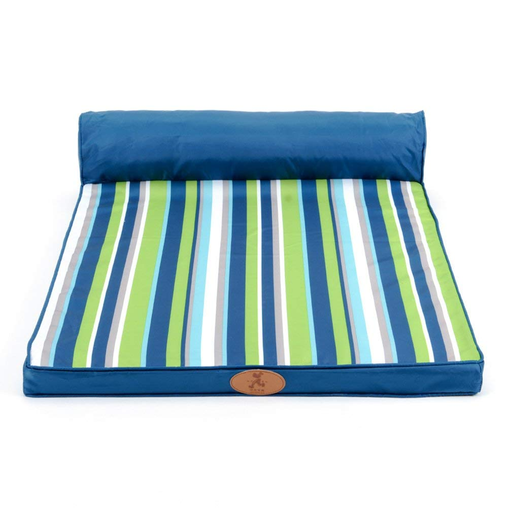 L(1208920CM) HeiPlaine Pet Sofa Cat and Dog Bed Stripe Pet Mat bluee Can Be Washed 3 Size Can Be Selected (Size   L(120  89  20CM))