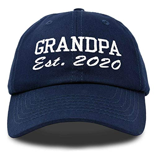 DALIX New Grandpa Hat Est 2020 Fun Gift Embroidered Dad Hat Cotton Cap in Navy Blue
