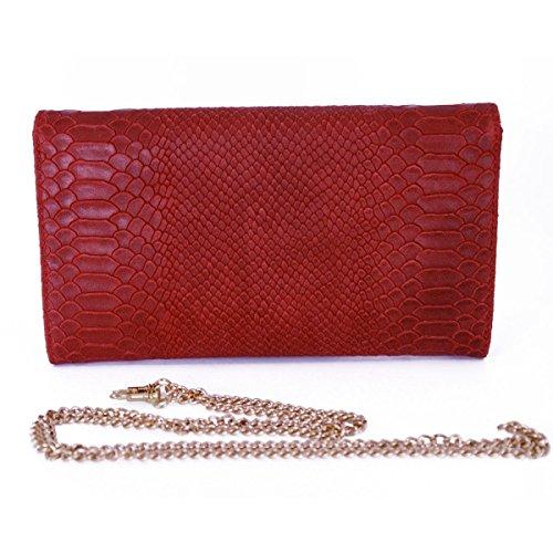 Pochette Donna In Vera Pelle Stampa Pitone Colore Rosso - Pelletteria Toscana Made In Italy - Borsa Donna