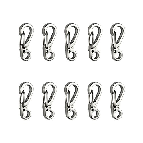Temlum Aluminum Mini SF Paracord Carabiner Clip Tiny Carabiners Set Spring Snap Keyring Hook for Camping Keychains Traveling Hiking Outdoor