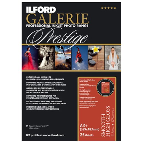 ILFORD 2001759 GALERIE Prestige Smooth High Gloss - 13 x 19 Inches, 25 - Ilford Laser Smooth Paper