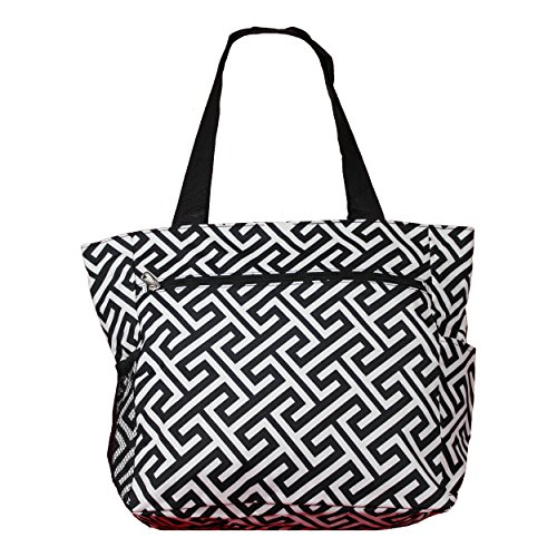 White Bag Key School H Greek Print Gym Beach Shopper Weekender Womens Travel Tote Black Large na4z1qxwR6