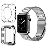 VIPPLUS for Apple Watch Band Stainless Steel Links Metal Wristband Clasp w/Clear Soft TPU Protective Case iWatch Cover for Men Women for Apple Watch Series 3, Series 2, Series 1 (42mm-Silver)