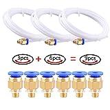 AIKEER Teflon Tube, 3Pcs PTFE Teflon Tube (2 Meters) with 6Pcs PC4-M6 Fittings for 3D Printer 1.75mm Filament (2.0mm ID/4.0mm OD)