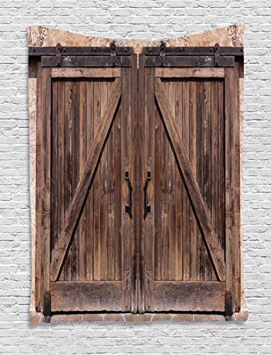 Ambesonne Rustic Tapestry Decor, Wooden Barn Door in Stone Farmhouse Image Vintage Desgin Rural Art Architecture, Wall Hanging Bedroom Living Room Dorm, 40 W x 60 L inches, Beige Review