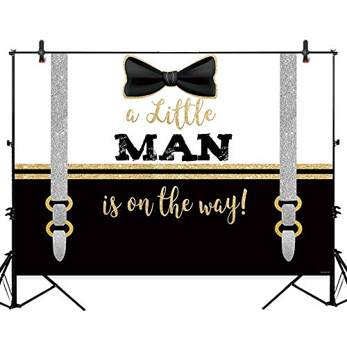 Boss Fabric Black (Allenjoy 7x5ft Our Little Man Baby Shower Backdrop Boys Gentleman Party Banner Cake Table Supplies Gold Black Baptism Decorations Photography Background Photo Studio Booth Props)